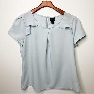 WORTHINGTON Pale Blue Short Sleeve Blouse Large